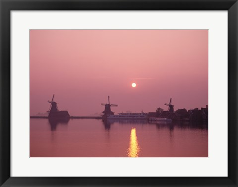 Framed Windmills at Sunrise, Zaanse Schans, Netherlands Print