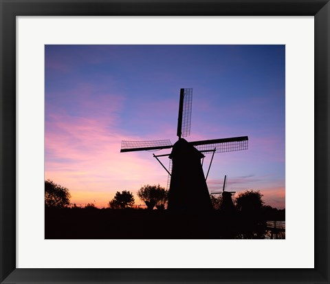 Framed Silhouette, Windmills On Purple Sunset, Kinderdijk, Netherlands Print