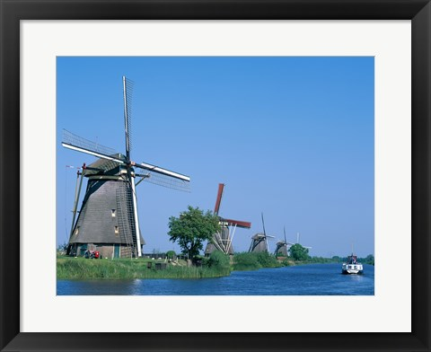 Framed Windmills and Canal Tour Boat, Kinderdijk, Netherlands Print