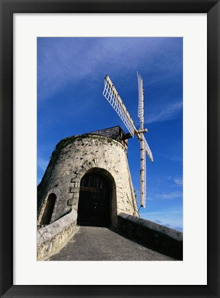 Framed Windmill at the Whim Plantation Museum, Frederiksted, St. Croix Closeup Print
