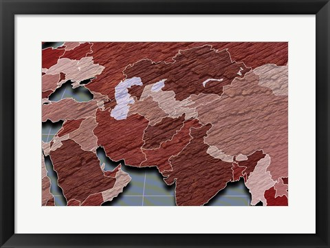 Framed Close-up of a world map - red and blue Print