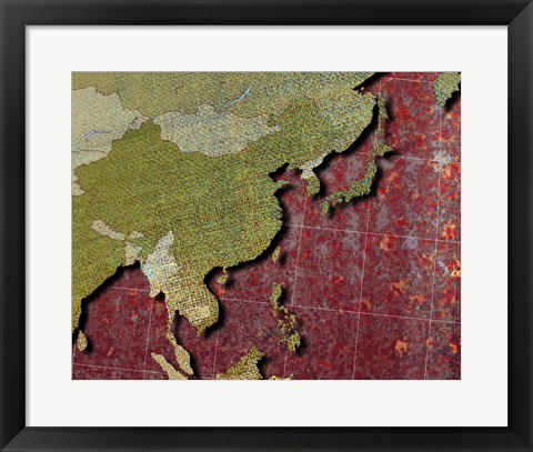 Framed Close-up of a world map - red Print