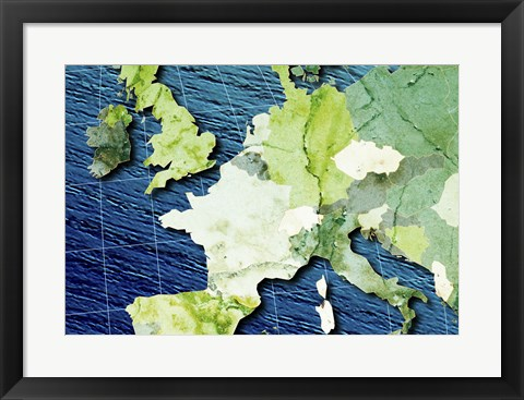 Framed Close-up of a world map - blue and green Print