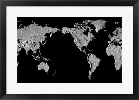 Framed Close-up of a world map - black Print