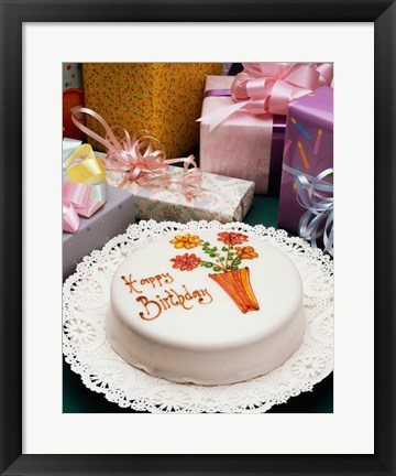 Framed High angle view of a birthday cake with gifts Print