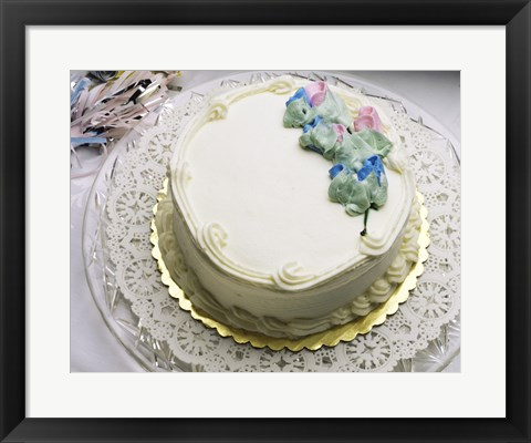 Framed Close-up of a cake on a tray Print