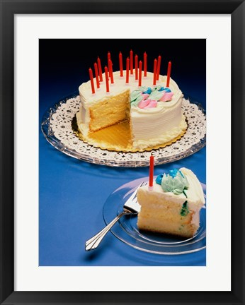 Framed Close-up of candles on a birthday cake Print