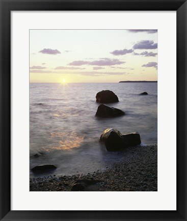 Framed Rocks on the beach at sunrise Print