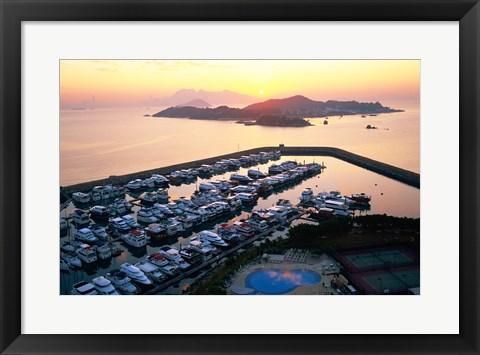 Framed Sunrise over Peng Chau Island with Discovery Bay Marina in foreground, Hong Kong, China Print