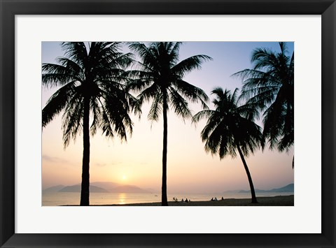 Framed Silhouette of palm trees on a beach during sunrise, Nha Trang Beach, Nha Trang, Vietnam Print