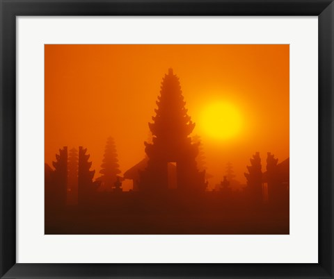 Framed Silhouette of a temple at sunrise, Bali, Indonesia Print