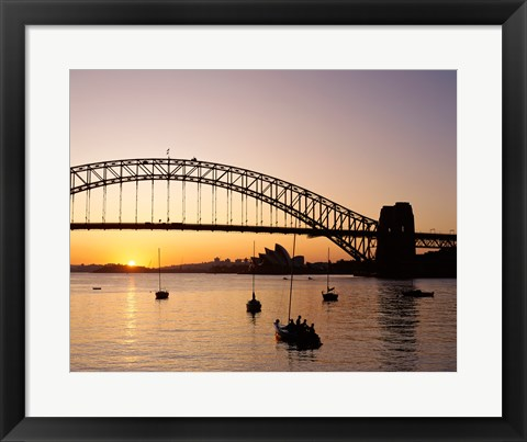 Framed Sunrise over a bridge, Sydney Harbor Bridge, Sydney, Australia Print