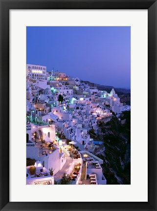 Framed Night, Santorini, Thira (Fira), Cyclades Islands, Greece Print