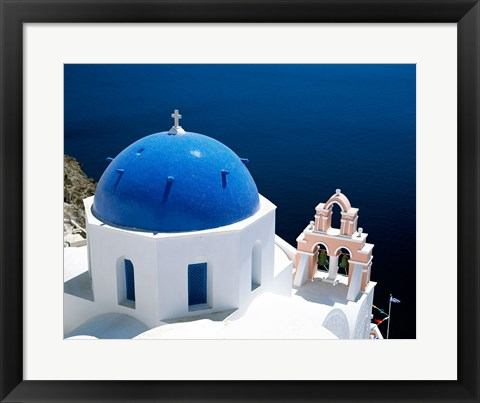 Framed Santorini, Oia , Cyclades Islands, Greece Arial View Print