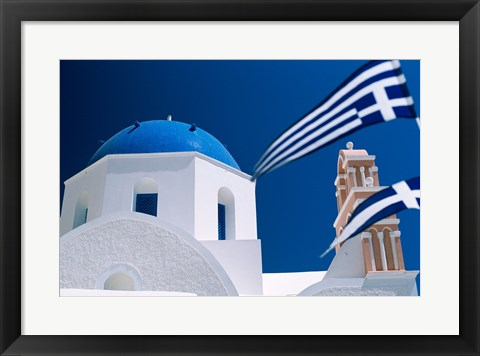 Framed Santorini, Oia , Cyclades Islands, Greece With Flag Print
