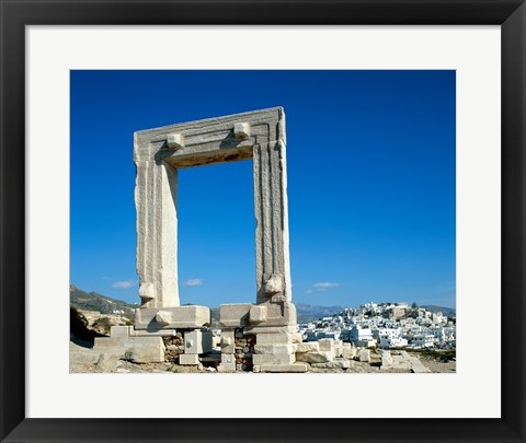 Framed Portara Gateway, Temple of Apollo, Naxos, Cyclades Islands, Greece Print