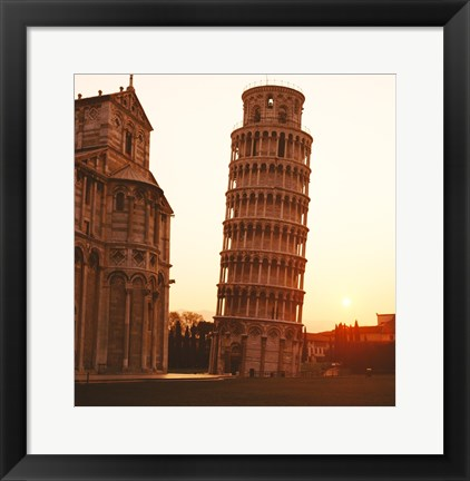 Framed Tower at sunrise, Leaning Tower, Pisa, Italy Print