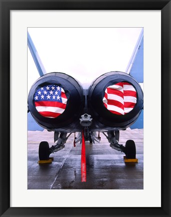 Framed FA-18 Hornet engines covered with American flag, USA Print