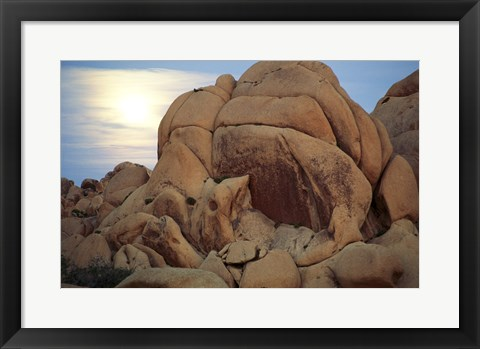 Framed Boulders at sunrise, Joshua Tree National Monument, California, USA Print