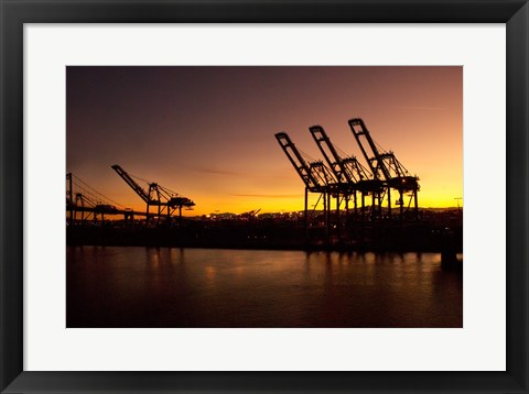 Framed Sunrise, Port of Long Beach, CA, USA Print