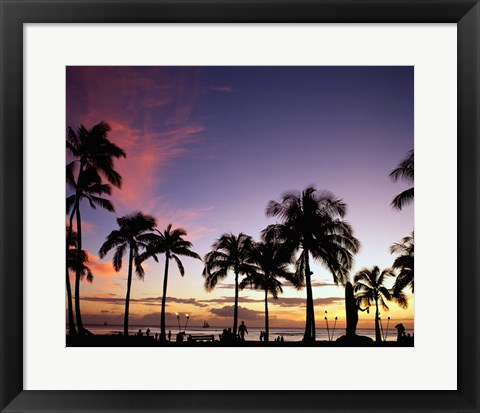 Framed Silhouette of palm trees on the beach, Waikiki Beach, Honolulu, Oahu, Hawaii, USA Print