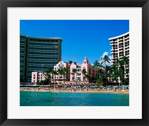 Framed Hotel on the beach, Royal Hawaiian Hotel, Waikiki, Oahu, Hawaii, USA Print