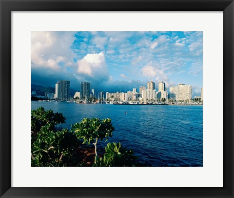 Framed Buildings on the waterfront, Waikiki Beach, Honolulu, Oahu, Hawaii, USA Print