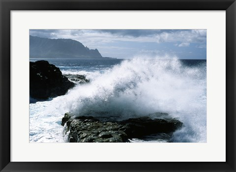 Framed Kauai Hawaii USA Waves Crashing Print