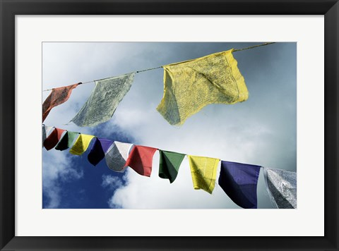 Framed Low angle view of prayer flags, Kathmandu, Nepal Print
