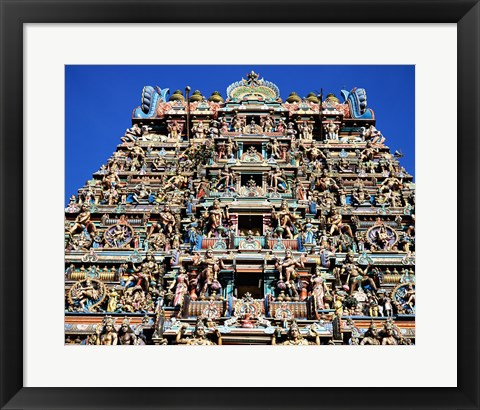 Framed Carving on Sri Meenakshi Hindu Temple, Chennai, India Print