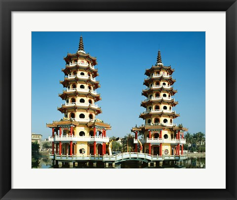 Framed Facade of a pagoda, Dragon and Tiger Pagoda, Lotus Lake, Kaohsiung, Taiwan Print