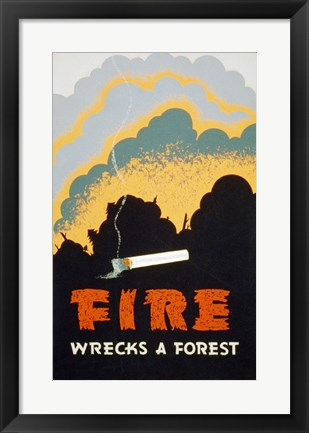 Framed Fire Wrecks a Forest Print