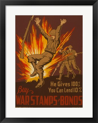 Framed War Stamps & Bonds Print
