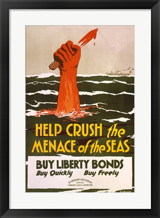 Framed Help Crush the Menace of the Seas Print