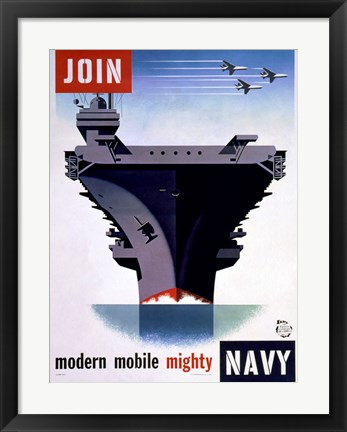 Framed Modern Mobile Mighty Navy Print