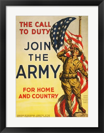 Framed Call to Duty for Home and Country Print