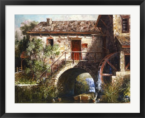 Framed Old Stone Mill Print