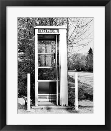 Framed Telephone booth by the road Print