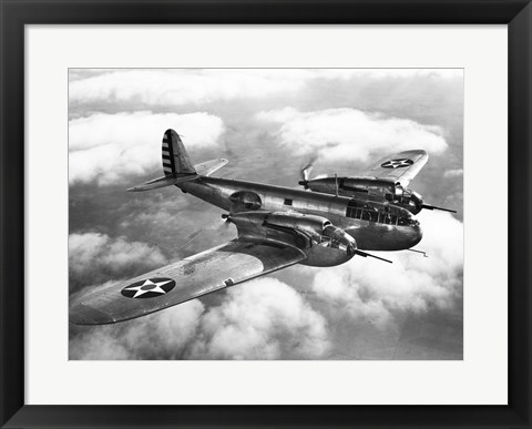 Framed US Army fighter plane in flight Print
