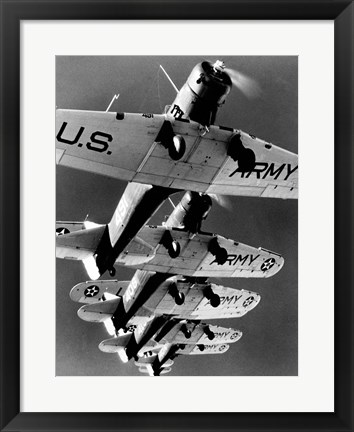 Framed Low angle view of five fighter planes flying in formation Print
