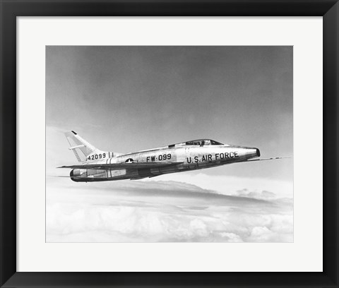 Framed Side profile of a fighter plane in flight, F-100C Super Sabre Print