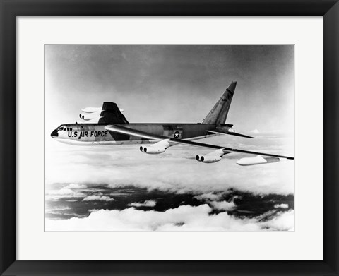 Framed Side profile of a bomber plane in flight, B-52 Stratofortress, US Air Force Print