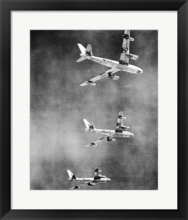 Framed Low angle view of three fighter planes in flight, B-47 Stratojet Print
