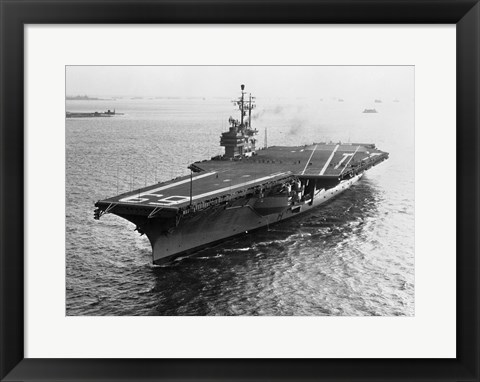 Framed High angle view of an aircraft carrier in the sea, USS Forrestal (CVA-59) Print