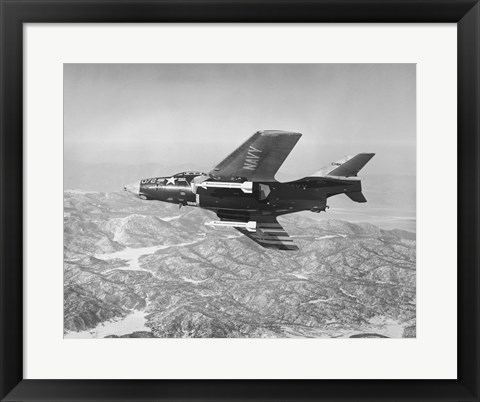 Framed Side profile of a fighter plane carrying sidewinder missiles during flight, F9F-8 Cougar, US Navy Print