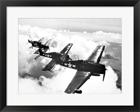 Framed High angle view of four fighter planes flying in formation, F6F Hellcat Print