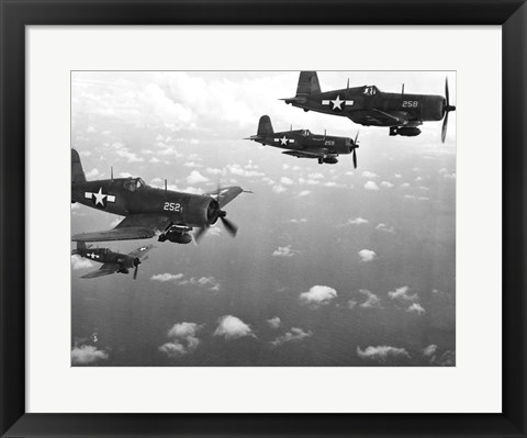 Framed Fighter planes in flight, US Marine Corps Print