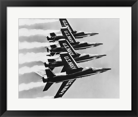 Framed Four fighter planes flying in a formation, Blue Angels, US Navy Precision Flight Team Print