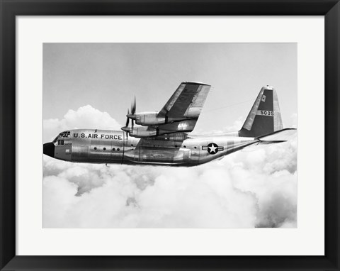 Framed Military airplane in flight Print