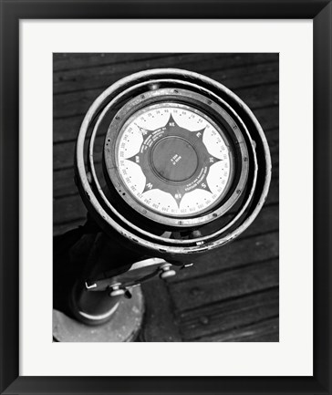 Framed Close up of compass on deck of boat, Compass-Gyro Repeater Print